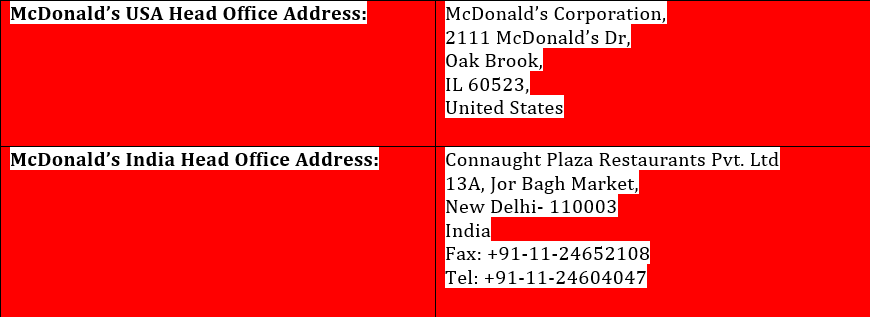 mcdvoice con addresses